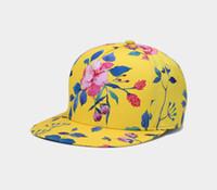 Novas Mulheres Chapéus Floral Impresso Caps Moda Hip Hop Senhora Caps Amarelo