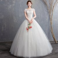 Scoop Neck Lace Tulle Ball Gown Wedding Dress with Pearls 20...
