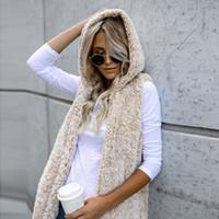 Chaud femmes hiver capuche Gilet Gilet Outwear Manteau en fausse fourrure Casual Zip Jacket Sherpa Chaleco Mujer