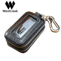 Westcreek Marke Echtes Leder Männer Doppel-reißverschluss Autoschlüssel Geldbörsen Frauen Minimalistischen Schlüsselhalter Mode Haushälterin Keychain