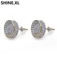 Argent 925 GLACÉ CZ haut de gamme de diamant Cluster rond à zircon revisser Boucles d'oreilles pour hommes Hip Hop Bijoux