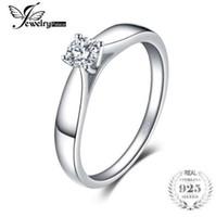 JewelryPalace 925 стерлингового серебра 0.2 ct кубического циркония пасьянс обручальное кольцо для женщин новый простой палец кольцо модные ювелирные изделия