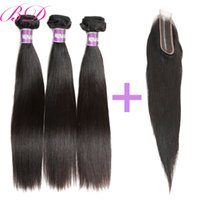 Peruvian 2*6 Lace Closure With Remy Human Hair Bundles Strai...