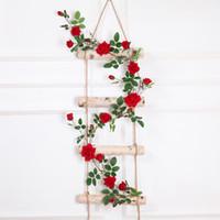 Gerçek dokunmatik Yapay Sahte Ipek Gül Çiçek Sahte Asılı Dekoratif Güller Vine Bitkiler Yapraklar Yapay Garland Çiçekler Düğün Duvar Dekor