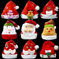 Enfeites de natal decoração chapéus de natal chapéus de santa crianças mulheres homens meninos meninas cap para adereços de festa de natal 17 estilos