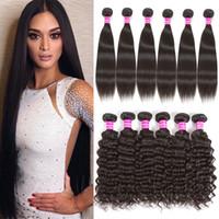 8a Brazilian Virgin Human Hair 6 Bundles Straight Body Deep Water Wave Kinky Curly Human Hair Extensions Raw Virgin Indian Hair Weave