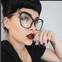 883b6550c89 Lady Cat Eye Glasses Frames For Women Sexy Oversized Metal Frame Brand  Designer Optical EyeGlasses Fashion Eyewear 45077
