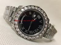 Relógio de Luxo 36mm Preto Dial Data Data Presidente 218239 Branco Diamante Diamante Bezel Bracele Suíço ETA 2836 Movimento Automático Mens Relógios