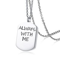 "19x28mm "" Always with me"" Cremation Urn Dog Tag Nec..."