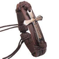 Hot Sale Biblical Cross Bracelet For Men 2018 Catene a mano in pelle di vacchetta Trendy con campioni extra casuali gratuiti