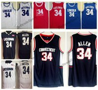 Hombre Vintage Ray Allen Connecticut Huskies College Basketball Jerseys El juego Lincoln High School 34 Jesús Shuttlesworth Steins Thirts