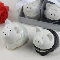 100Sets Nouveau Couleur Noir et Blanc Couleur Piggy Bride Broom Groom Pepper Shaker Shakers Shakers Favor Mariage Douche Mariée Cadeaux