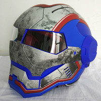 Azul mate retro MASEI IRONMAN Iron Man casco motocicleta medio casco casco abierto 610 ABS casque motocross