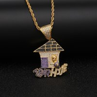 Trap House Pendant AAA CZ Bling Purple Iced Out Micro Paved ...