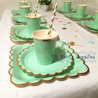 8 sets paper tableware solid mint color with foil gold scallop edge dinner plates cups napkins straws for wedding bridal shower