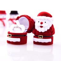 Mulheres Meninas Clássico Papai Noel Brinco Ear Stud Colar Anel Caixa Vermelha Caso Recipiente Caixa De Jóias Caixa De Presente De Natal
