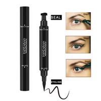 HANDAIYAN Double-fin Eyeliner Crayon + Timbre Triangle Joint Eyeliner 2 en 1 Liquide Étanche Longue Durée Cat Eyeliner Gratuit DHL 120pcs