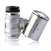Mini pocket 60 times magnifying glass microscope with ultrav...