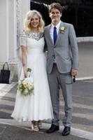 New Arrival White A Linia Srebrny Cekinowy Neck Beach Country Wedding Suknie Pleat Krótki Rękaw Długość Szyfonowa Tanie Suknia Bridal Maxi