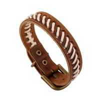 Men' s Pin Buckled Leather Bracelets Brown and White Rop...