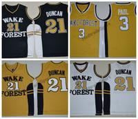 Vintage Tim Duncan # 21 Wake Forêt Démon Démon Demon Collège Basketball Jerseys Blanc Blanc Chris Paul # 3 Chemises de basketball cousues en or
