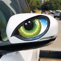 3D 스테레오 반사 고양이 눈 자동차 스티커 자동차 자동 측면 펜더 아이 스티커 접착제 크리 에이 티브 백미 미러 데칼 2pcs / 세트