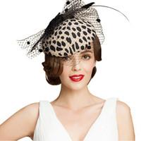 Fascinators Zwart Leopard Pillenbox Hoed met Sluier 100% Australische wol Vilt Hoedtjes Dames Vintage Bowknot Cocktail Fedora