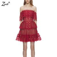 ZAWFL alta qualidade Mulheres oco Fora de um ombro Ruffles Vestido de renda Runway Auto-Retrato Vestido