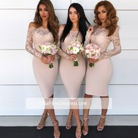 2018 Saudi Arabic Illusion Lace Bridesmaid Dresses Long Slee...