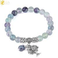 CSJA 8mm Mala Beaded Bracelets Glaze Fluorite Beads Natural Gemstone Strand Bracelet for Women Retro Silver Color Tree Charms Jewellery F349