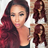Beautiful 100% Virgin Ombre Burgundy Long Body Wave Human Ha...