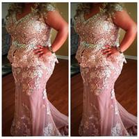 2021 Alças Lace apliques Pérolas do frisada Mãe Vestidos Mermaid Evening vestidos longos Tulle Personalizar Plus Size vestidos formais