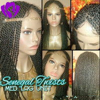 Hotselling preto peruca torção senegalês com cabelo do bebê dianteira do laço de torção trançado perucas para mulheres negras Mambo Cabeça completa
