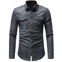 2020 camisa dos homens Demin Casual clássico camisa de manga longa -Clothing Chemise social Homme Jeans Wear Plus Size XXXL