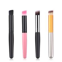 Maquillage unique Brosses poignée en bois Pinceau plat professionnel Fondation Pinceau à blush poudre Correcteur Contour Brosses visage