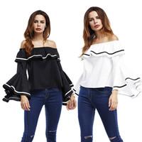 Kadınlar Tops Bluzlar Casual gömlek Kapalı Omuz Üst Slash Boyun Gevşek Boynuz Kol Ile Ruffles Beyaz Siyah Backless Bluzlar