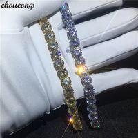Vecalon Handmade Tennis armband Weißes Gelbgold Gefüllt 8mm 5A Zirkon cz Hochzeit armbänder für frauen Mode Jewerly