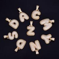 A-Z Nome feito sob encomenda da bolha Cartas colares Pendant Bling Cubic Zircon Hip Hop Jóias 2 cores com cadeia cubana Hot Vendas