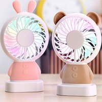 Summer Cartoon Rabbit Bear Panda LED Light Mini USB Fan Hand...