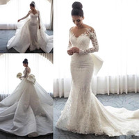 2019 New Fashion Lace Mermaid abiti da sposa treno staccabile Bow Knot maniche lunghe Illusion Button Back abito da sposa abiti da sposa personalizzati