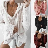 여성 의류 핑크 겨울 따뜻한 후드 티셔츠 루즈 귀여운 양털 풀오버 여성 의류 도매 저렴한 배송