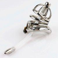 La castidad masculina Dispositivo inoxidable Stee Cock jaula con forma de arco del anillo del martillo de uretra Sonidos pinchos Anillo BDSM Bondage Juguetes del sexo para los hombres