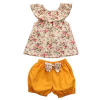 الوليد الطفل بنات ملابس تتسابق 2018 أحدث الصيف الأزهار المطبوعة قمم + bowknot قصيرة 2 قطع مجموعات ملابس أطفال الأطفال الصيف