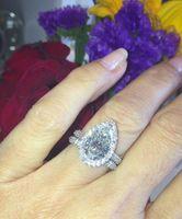 럭셔리 패션 925 실버 배 모양의 천연 다이아몬드 약혼 반지 결혼 반지 다이아몬드 반지 크기 6-10