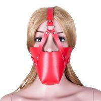 Red PU Leather Head Harness Muzzle Boca abierta Gag de la bola con la máscara Juguetes sexuales en adultos Juego Bondage Restricción Erotic Sex Products