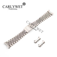 CARLYWET 13 17 19 20 22 mm Hollow Curved End Solid Screw Links Plata 316L Reemplazo de acero inoxidable Correa de reloj Correa de pulsera