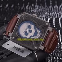 Luxry New Instruments BR 01 BR0192 - 해골 - 굽기 두개골 패턴 다이얼 스위스 쿼츠 망 시계 316L 스틸 케이스 가죽 스트랩 체계 02