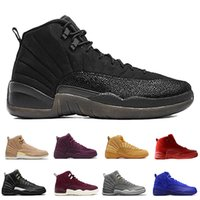 Hot 12 12s men basketball shoes Wheat Dark Grey Bordeaux Flu...