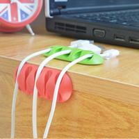 Multipropósito alambre cuerda del cable de escritorio del sostenedor ordenado soltar los clips Organizador línea Fixer Winder Accesorios Línea cargador Cable del soporte USB