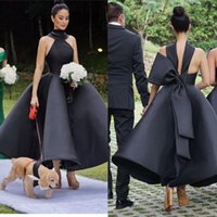 Black Bridesmaid Dresses Ankle Length Halter Satin Wedding G...